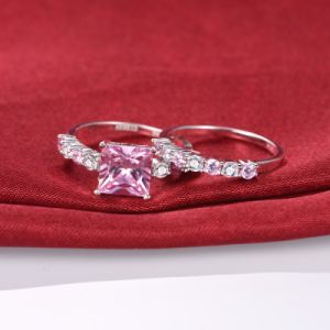 Asscher Cut Pink Stone Wedding Ring Set - 33 pictures & photos