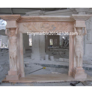 Beige Stone Sculpture Marble Fireplace (SY-MF014) pictures & photos