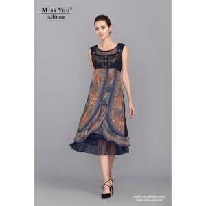 Miss You Ailinna 101252 Elastic Slip Dress Wholesaler Woven Dress with Net Cloth pictures & photos