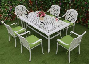 Elizabeth Cast Aluminum Powder Coated Garden Outdoor Hotel Furniture Set for 6 Family Dinner pictures & photos