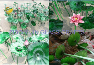 Modern Large Outdoor Garden Hotel Interior Hall Decorative Hand Made Chihuly Style Handmade Glass Lotus Sculpture