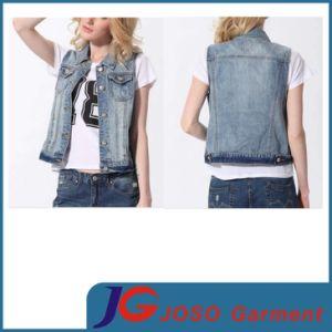 Light Blue MID Wash Fashion Ladies Denim Vest (JC4091) pictures & photos
