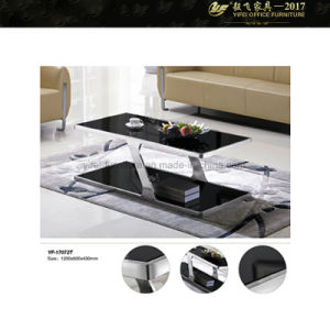 Black Coffee Table with Glass Top Modern Black Coffee Table (YF-170072T)