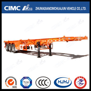 Cimc Huajun 40FT 3axle High Tensile Steel Skeleton Container Semi-Trailer pictures & photos