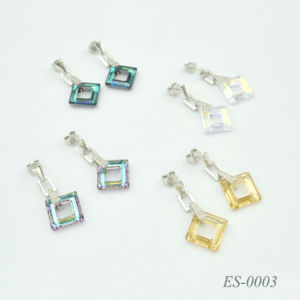 925 Silver / Stainless Steel Earring Crystal Fashion Jewelry Es-0003