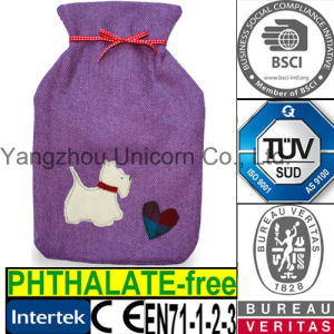CE Heart Dog Fabric Hot Water Bottle Cover pictures & photos