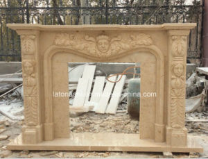 Beige Carving Marble Fireplace for Decoration pictures & photos