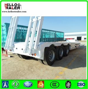 Heavy Duty 60 Ton Payload 3 Axle Low Flatbed Trailer Low Bed Truck Semi Trailer pictures & photos