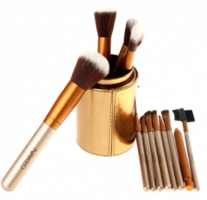 Fashionable Golden Makeup Brush 12PCS/Set Cosmetic Brushes Tool with Round Box pictures & photos