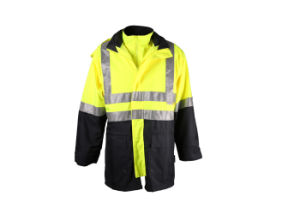 Hi-Vis Yellow Navy 3 in 1 Work Safety Reflective Mens Winter Thermal Jacket Coat pictures & photos