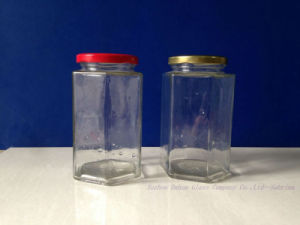550ml Hexagon Glass Food Storage Jar with Tin Lid pictures & photos