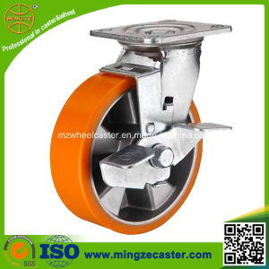 "Heavy Duty 6"" PU Aluminium Trolley Wheel Caster pictures & photos"