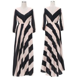 Two Colors Striped Casual Women Dress with V-Backless pictures & photos