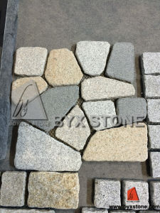 Yellow Granite Cobblestone Pavers on Mesh with Crazy Type pictures & photos