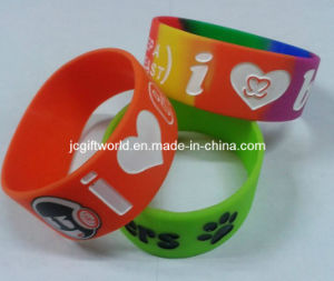 Colorful Deboosed Silicone Wristband 1inch Wide Bracelet