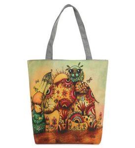 an Elephant Print Exotic Folk Style Canvas Bag (LDO-01649) pictures & photos