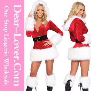 3 Piece Hooded Fur Trim Velvet Christmas Santa Dress pictures & photos