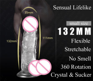 Crystal Dildo Dongs Flexible Penis with Textured Shaft Strong Suction Cup pictures & photos