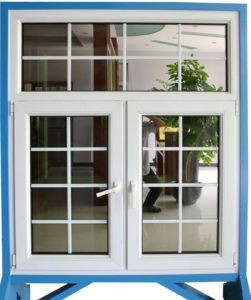 UPVC/PVC Window with Grille Double Sashes Swing Grill Window