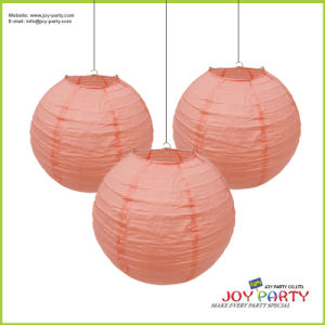 Peach Color Round Paper Lantern Lamp for Party Decoration pictures & photos
