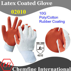 10g White Polyester/Cotton Knitted Glove with Orange Rubber Sandy Coating/ En388: 4232 pictures & photos