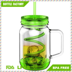 550ml Double Wall Mason Jar with Curved Straw BPA Free pictures & photos