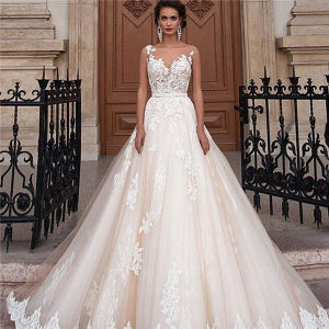 White/Ivory Floor Length A Line Lace Appliques Customized Size Wedding Dresses Slim Sleeveless Wedding Gowns for Married Girls Bespoke Size Tailored Made Dress