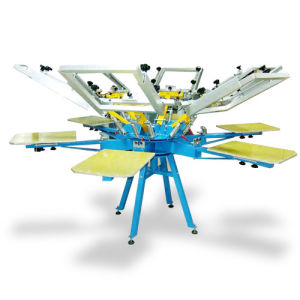 6 Color Carousel Silk Screen Printing Press for T Shirt with Micro Registration