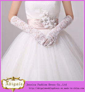 2014 Pink Medium Length Lace Full Finger Wedding Dress Glove (MI 3568)