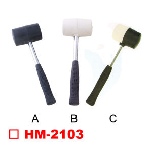 Rubber Hammer with Tubular Steel Handle, Black/White Color pictures & photos