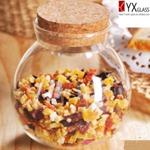350ml Fashion Design Glass Storage Canister/Glass Seasoning Pot/Glass Spice Container with Wood Lid pictures & photos