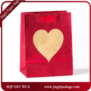 Big Heart Gift Paper Bags Carrier Bag Printed Bags with Heavy Glitter for Valentine Day pictures & photos