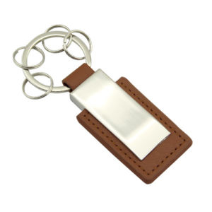 Customized PU Leather Car Key Chain with Small Ring (F3031)