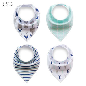Wholesale Double Layers 4PCS Packing Baby Cotton Bibs with Ykk Button pictures & photos