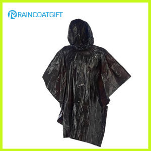 Emergency Black PE Rain Poncho Rpe-099 pictures & photos