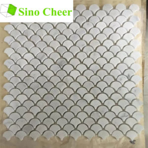Italian White Marble Floor Tile Mini Fish Scale Mosaic Tile pictures & photos