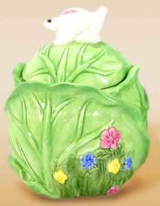 Dolomite Cabbage Leaf Sugar Bowl with Lid Candle Holder (UCH-8005)