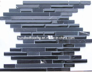 Black Stone Mix Glass Mosaic Wall Tile (HGM279) pictures & photos