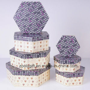 Customized Hexagon Printed Paper Cardboard Gift Storage Boxes Set pictures & photos