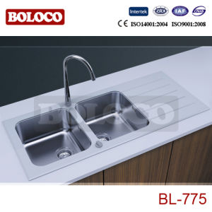 Double Bowl White Glass Sink Bl-775 pictures & photos
