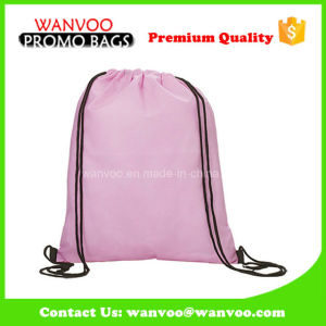 2017 Wholesale Blank Purple 420t Polyester Drawstring Sprot Backpack pictures & photos