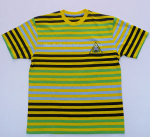 Men′s Striped T-Shirt with Round Neck pictures & photos