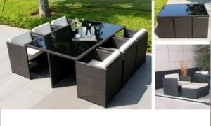 PE Rattan Square Table and Chair Bar Furniture pictures & photos