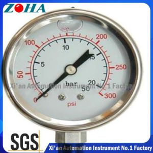 Double Scale 0-20bar/0-300psi 100mm Diameter Stainless Steel Pressure Gauge pictures & photos