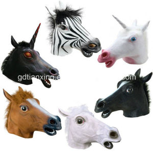 Creepy Fancy Dress up Halloween Party Latex Horse Head Mask pictures & photos