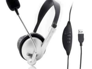 Volp USB Port Computer Headphone Mic Acoustic Clear Tube Headset pictures & photos