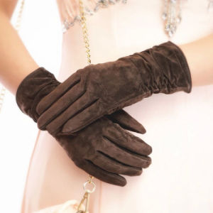 Lady Pigskin Suede Leather Fashion Dress Driving Gloves (YKY5211) pictures & photos