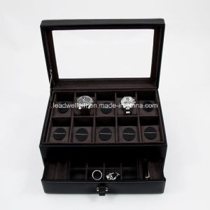 Leather 10 Watch Case with Glass Top and Storage Drawer pictures & photos