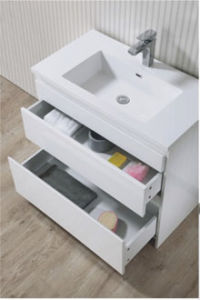 Hot Sell White Single Sink Curved Bathroom Cabinet with Mirror pictures & photos