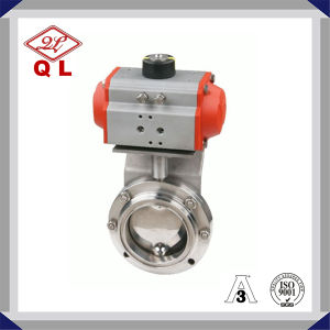 Sanitary Stainless Steel Pneumatic Threaded Butterfly Valve pictures & photos